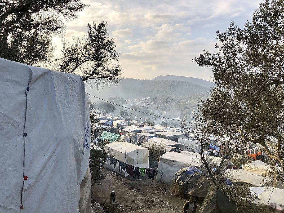 """Das """"inoffizielle"""" Camp in den Olivenhainen Moria auf der griechischen Insel Lesbos: Statt 3000 Menschen leben hier inzwischen 21000 Schutzsuchende."""